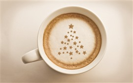 Preview wallpaper One cup of coffee, Christmas tree, stars