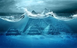 Pyramid in the sea, water, creative picture