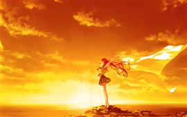 Preview wallpaper Red hair anime girl, pose, sunset, wind, clouds, sea