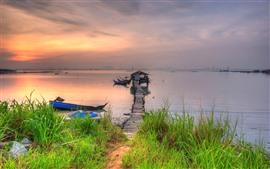 River, pier, hut, bridge, grass, dusk