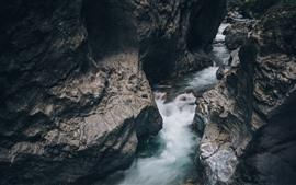 Rocas, riachuelo, agua