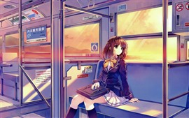 Preview wallpaper School girl, anime, train