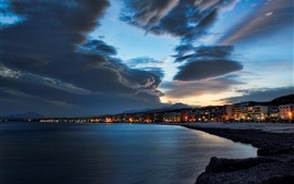 Preview wallpaper Sea, coast, city, sky, clouds, night