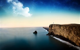 Preview wallpaper Sea, lighthouse, stars, clouds, cliff, beautiful landscape