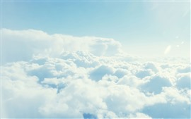 Preview wallpaper Sky, white clouds, height, fluffy