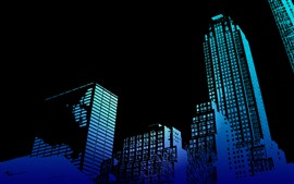 Preview wallpaper Skyscrapers, buildings, black background, creative design