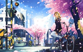 Preview wallpaper Smile anime girl, bike, sakura, train