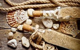 Preview wallpaper Still life, seashell, bottle, sand, rope, stones