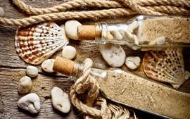 Aperçu fond d'écran Nature morte, coquillage, bouteille, sable, corde, pierres