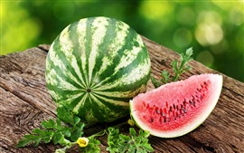 Preview wallpaper Summer fruit, watermelon, green leaves