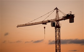 Sunset, machine, crane