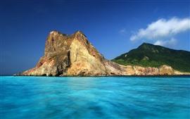 Taiwán, mar, rocas, montaña