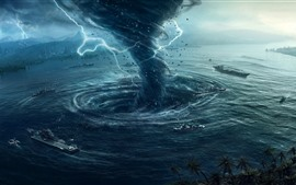 Preview wallpaper Tornado, storm, lightning, ship, sea, creative picture