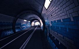 Тоннель, кирпичи, фонари, дорога, люди