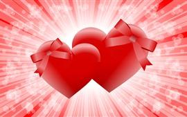 Dois corações vermelhos amor, brilho, desenho vetorial