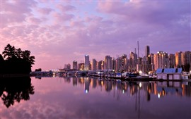 Vancouver, dusk, buildings, river, boats, lights