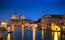 壁紙のプレビュー ヴェネツィアの夜、家、川、ライト