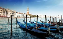 Venecia, góndolas, río, casas