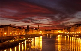 Preview wallpaper Venice, night, lights, river, bridge, houses, city, Italy
