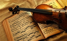 Preview wallpaper Violin and music book