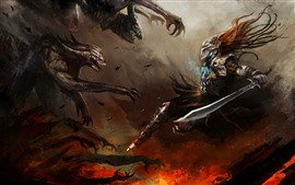 Preview wallpaper Warrior, sword, monster, art picture
