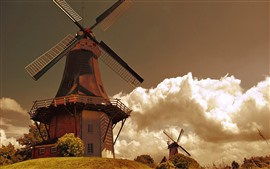 Preview wallpaper Windmills, clouds, glare