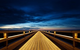 Preview wallpaper Wooden bridge, endless, lights, night, clouds