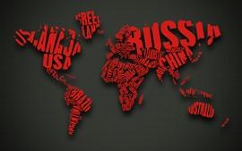 미리보기 배경 화면 세계지도, 빨간 단어, 창조적 인 디자인