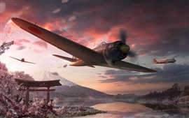 Preview wallpaper World of Warplanes, Japan, sakura, Fuji mount