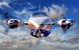 Preview wallpaper Airplane front view, propeller, speed