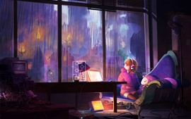 Preview wallpaper Anime girl, notebook, window, room