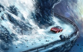 Preview wallpaper Art painting, snow, supercar, rocks