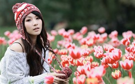 Preview wallpaper Asian girl and tulips, hat