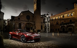 Preview wallpaper Aston Martin red supercar, town