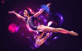Preview wallpaper Beautiful dancing girl, violet leotards, pose, magic, creative picture