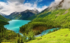Preview wallpaper Beautiful nature landscape, trees, green, mountains, lake, clouds
