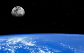 Preview wallpaper Blue Earth, moon, space