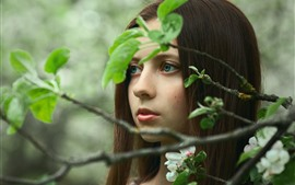Preview wallpaper Blue eyes girl, brown hair, twigs, green leaves