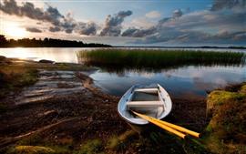 Лодка, озеро, сумерки, камыши, облака