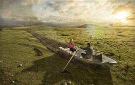 Preview wallpaper Boat, meadow, sun, creative picture