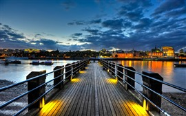 Bridge, pier, river, boats, houses, lights, night