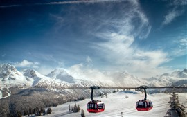 Cable car, snow, mountains, winter
