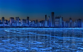 Preview wallpaper Chicago, skyscrapers, ice, river, winter, night, blue, creative picture