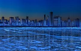 Chicago, rascacielos, hielo, río, invierno, noche, azul, imagen creativa