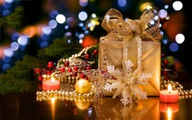 Preview wallpaper Christmas, gift, candle, snowflake