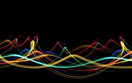 Preview wallpaper Colorful lines, abstract curves, black background