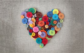 预览壁纸 多彩的爱的心,钮扣