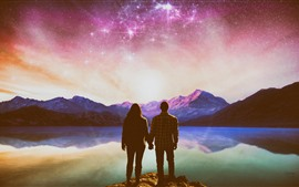 Couple, lake, stars, shine, mountains, creative picture