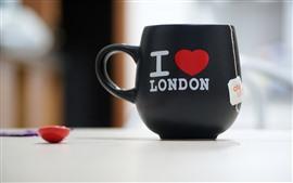 カップ、愛の心、お茶