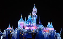 Preview wallpaper Disneyland, beautiful castle, colorful lights, night